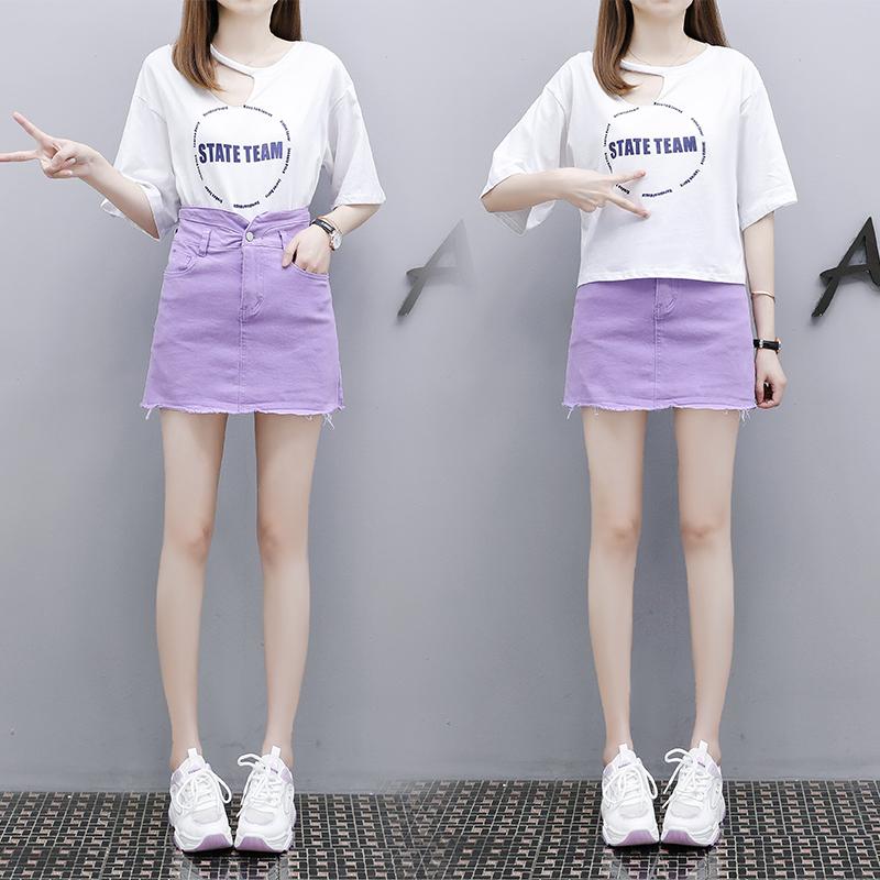 實拍 2020夏季新款韓版印花短袖T恤+紫色彈力牛仔裙兩件套套裝