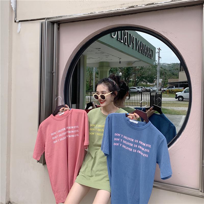下衣失踪t恤女短袖ins莓红色宽松糖果色字母印花宽松马卡龙色上衣满33.98元可用1元优惠券