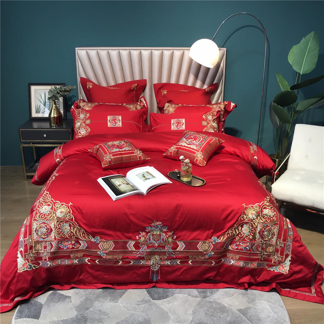 结婚大红高端刺绣寝具床品十件套纯棉长绒棉四件套家纺