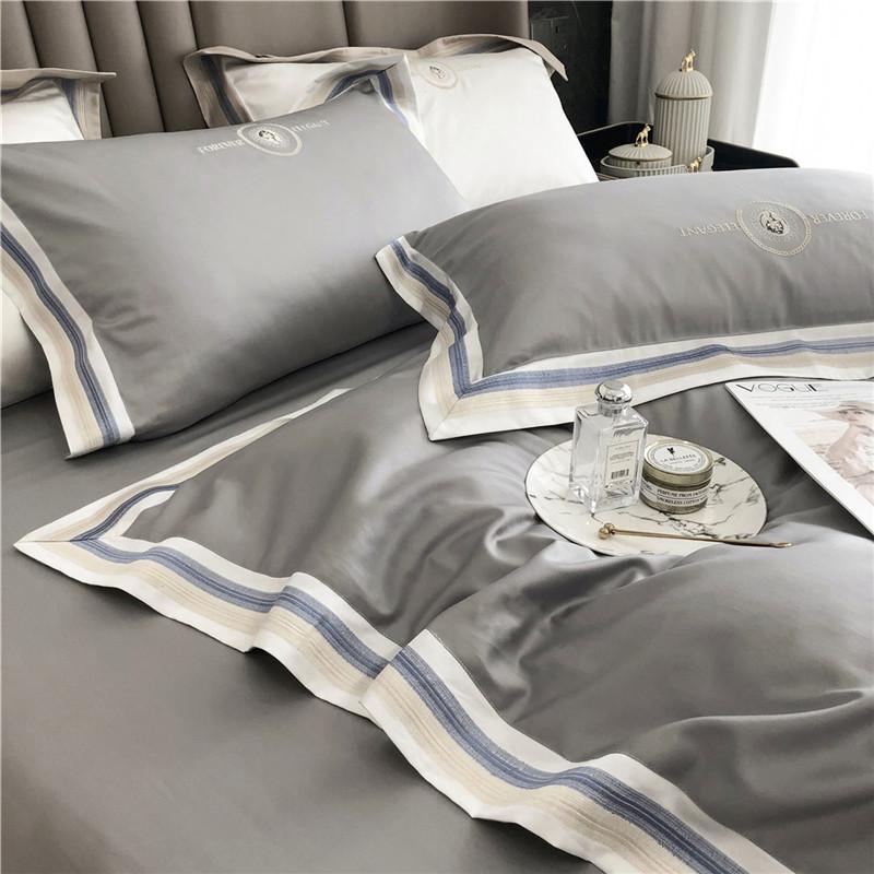 欧風シンプルで贅沢な刺繍寝具寝具の寝具純綿綿の4点セットの家庭用紡績品