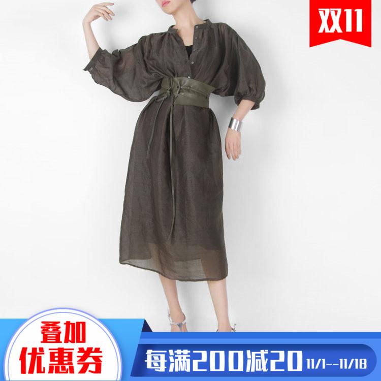 「无翼出品NO15A24」原创墨绿色亚麻中半透明宽松连衣裙