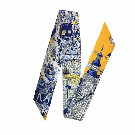 仿真丝细窄长条百搭小领巾绑包丝带