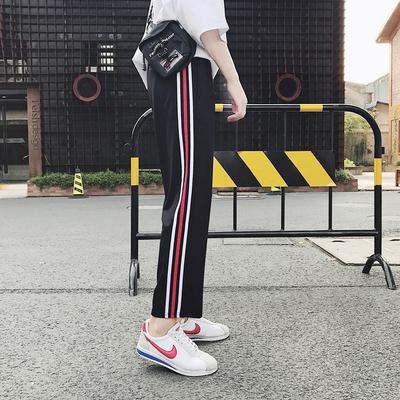 2019春夏阔腿裤子中性卫裤九分裤休闲裤男女大码运动裤614/P40