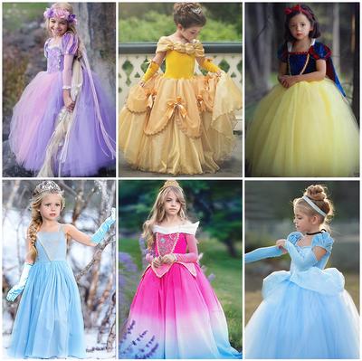 万圣节公主裙女童贝儿灰姑娘长发公主裙白雪公主艾莎睡美人礼服装