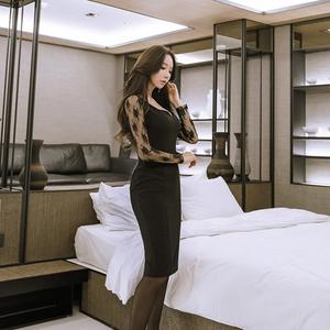 6092#【高档女装】2018春季新款名媛风女装 韩版时尚蕾...