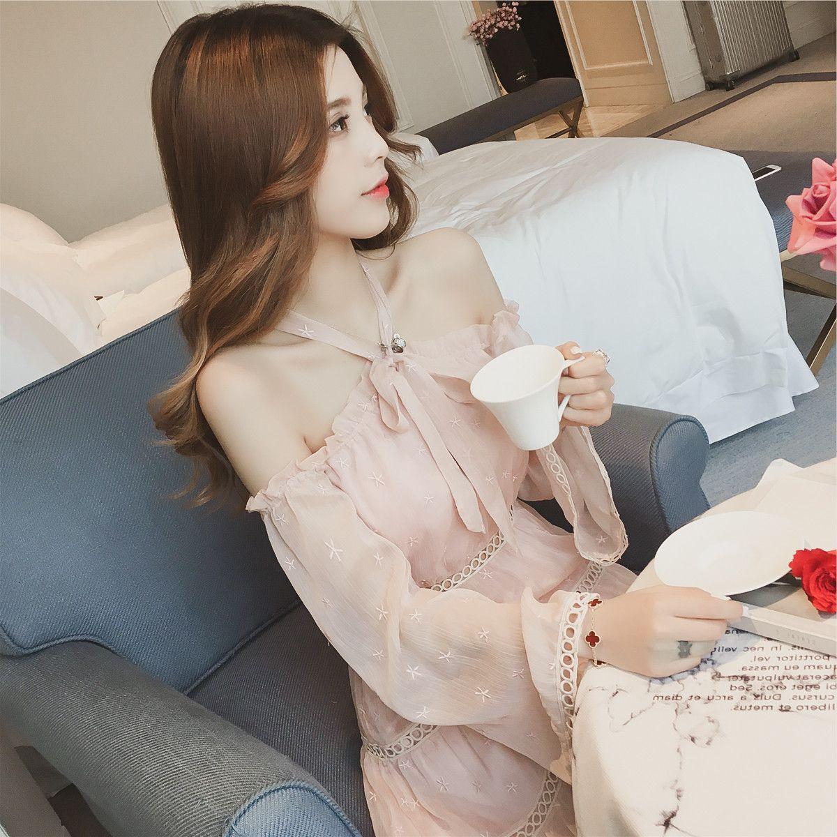 香港专柜miu缪家春夏新款女装露肩挂脖系带粉色雪纺一字领连衣裙