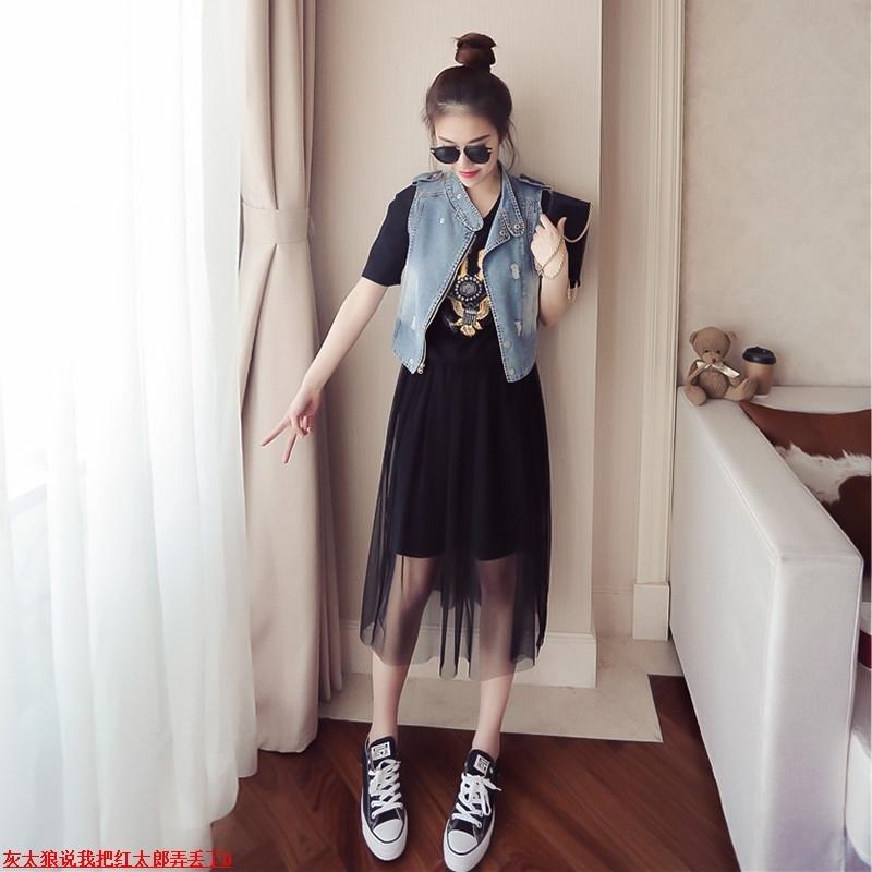 香港miu缪家新款2018新款女装夏季百搭长裙牛仔马甲两件套连衣裙