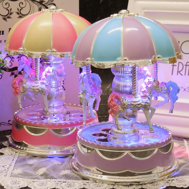 旋转木马发条音乐盒八音盒送女生儿童女儿生日礼品教人节礼物