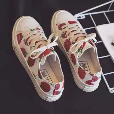 Mingshi converse small strawberry canvas shoes female 1970s girl heart powder lovely printing high top low top versatile student