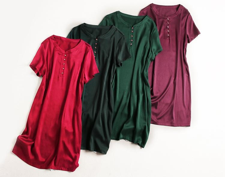 砖桂品质桑蚕丝真丝砂洗桑波缎立领金扣多色短袖连衣裙有大码A型