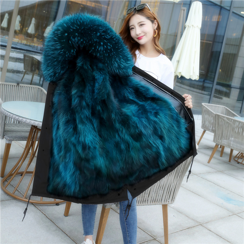 Winter 2019 new style to overcome coat female raccoon dog fox fur liner detachable fur coat mid long out of season