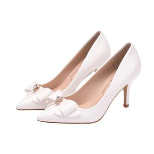 2020秋冬季新款細跟水晶鑽扣高跟鞋白色單鞋尖頭中低跟伴娘女婚鞋