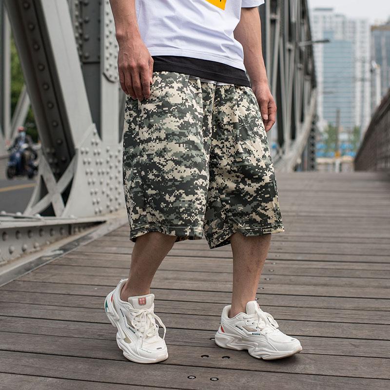 团购大码篮球短裤男过膝 街头篮球大裤衩男潮 迷彩7分训练运动裤