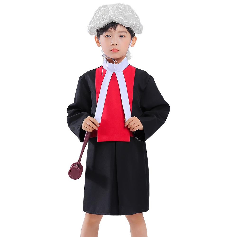 万圣节新款cosplay中小童职业角色扮演律师假发儿童法官表演服装