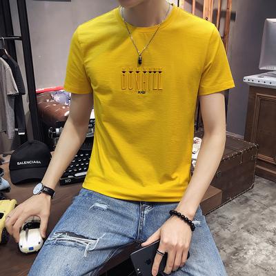 X015-P48-2019夏季新款 字母刺绣男士修身圆领短袖T恤 95棉 5氨纶