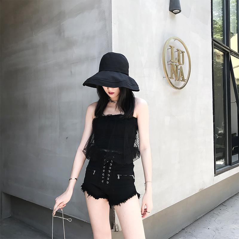Summer new dark wind high waist raw edge versatile sexy lace up jeans waist slim shorts women