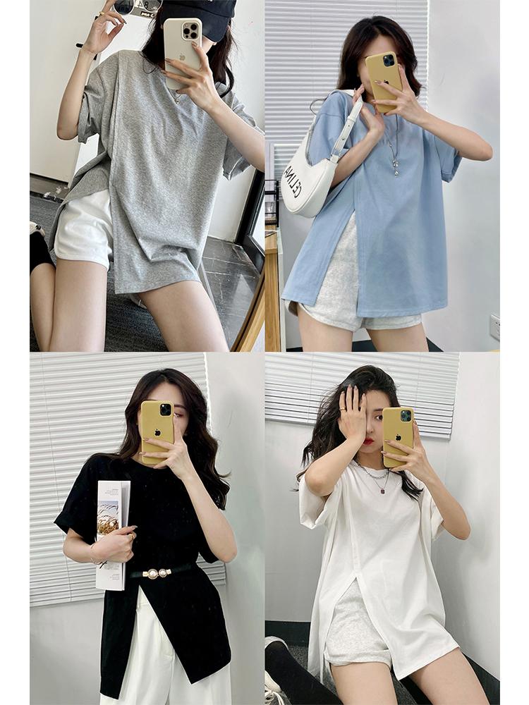 FENGZY�6�1小众设计感开叉短袖t恤女2021年夏宽松纯棉圆领打底