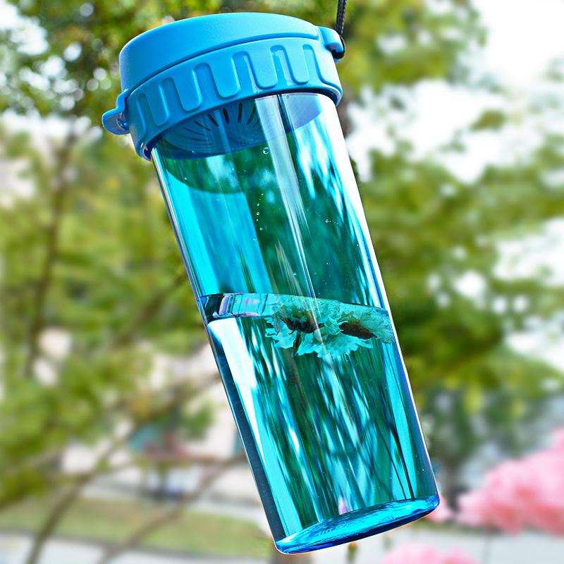 特百惠水杯500 430ML茶韻瑩彩隨手杯塑料帶蓋提繩學生防漏杯