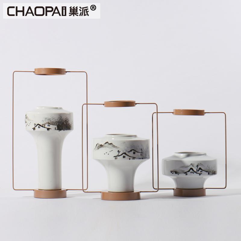 新中式山水陶瓷罐摆件 室内门厅玄关水墨摆设家庭风水铁艺装饰品