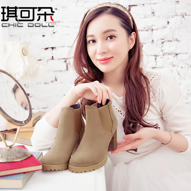 [Full clearance] new short boots womens spring and autumn single boots thick heel high-heeled boots childrens short boots bare boots Ankle Boots