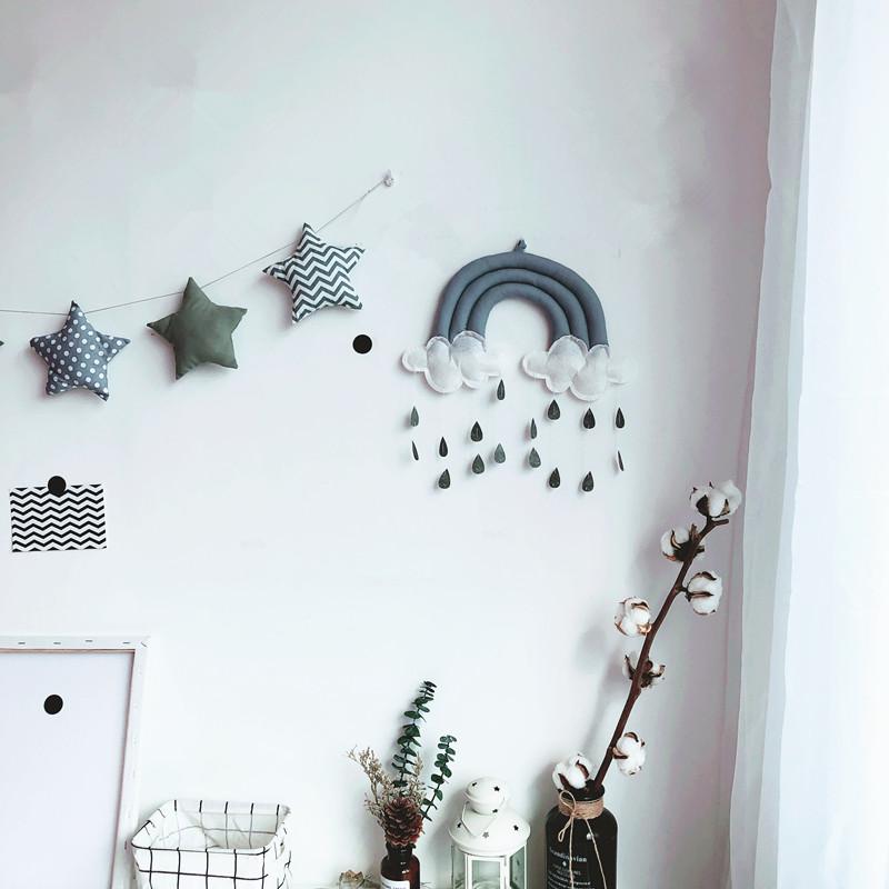 北歐風房間裝飾掛飾臥室宿舍星星串云朵雨滴裝扮墻面裝飾壁飾ins