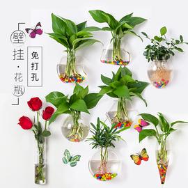 创意墙上悬挂小花瓶贴墙水培植物玻璃瓶透明绿萝壁挂花瓶挂墙花盆