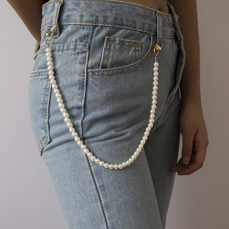 ins百搭珍珠裤链女 个性潮人网红裤子挂链嘻哈潮流圆珠身体链装饰