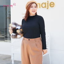 Fiber Lisa show 2018 Autumn dress new Big size womens fashion skinny wooden ear trumpet long sleeve knitwear sweater