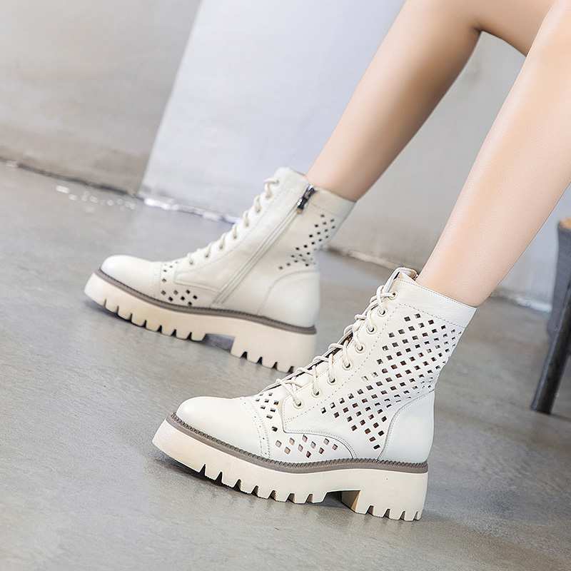 Leather Medium heel Martin boots hollow out short boots womens summer thin head layer cowhide mesh thick bottom hole fashion sandals