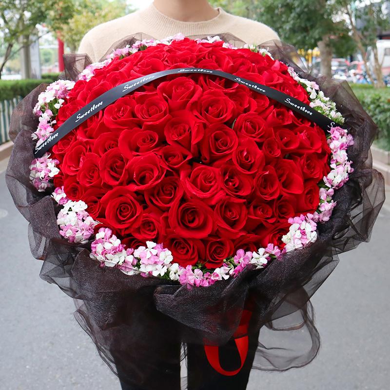 99朵黑纱红玫瑰花束贵州鲜花同城速递宁波无锡上海天津生日送花店