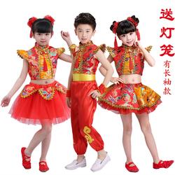 儿童开门红喜庆秧歌服男女童中国风打鼓服说唱中国红舞蹈演出服装