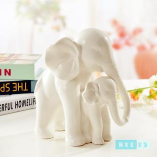 Jingdezhen ceramics mother elephant modern fashion home decor crafts ornaments defends the entrance of new homes