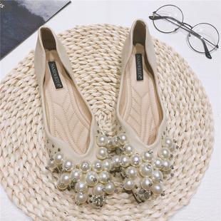 珍珠扣婚纱新娘鞋 结婚鞋 女平底2020新款 软底伴娘鞋 孕妇婚鞋 子单鞋