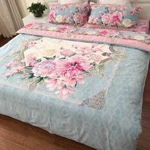 纯棉全棉加厚保暖磨毛四件套新中式欧式美式花卉复古大红婚庆床品