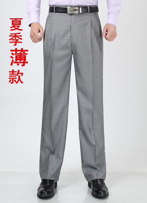 新款男士休闲西裤 夏季薄款亚麻双褶 单褶 高腰长裤子 宽松西服裤