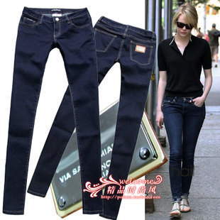 European Grand Prix 2015 spring and summer fashion dark metal box was thin stretch skinny jeans female feet pants