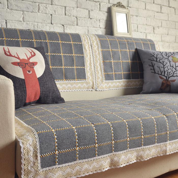 Подушки на диване средиземноморье американский сетка весна четыре сезона скольжение льняная ткань диван крышка крышка полотенце полное покрытие сделанный на заказ
