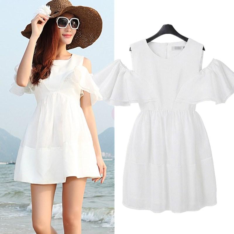 海边沙滩白色裙2017夏装李小璐同款显瘦喇叭袖露肩连衣裙 蓬蓬裙