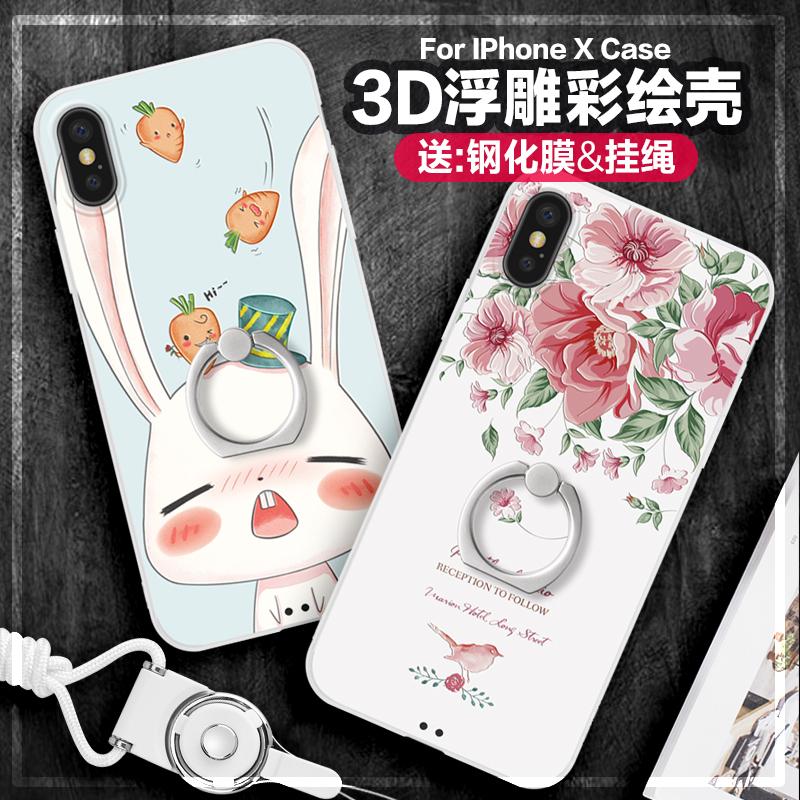 景为iPhoneX手机壳苹果X新款硅胶挂绳套10硬壳全包防摔iponex女款