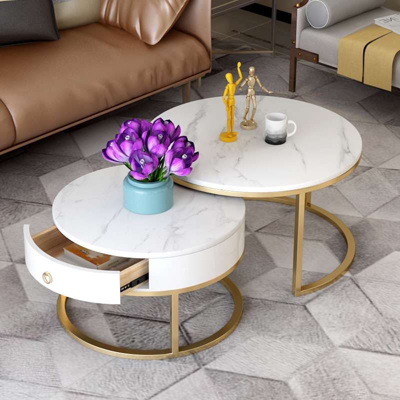 Iron art Nordic modern rock board marble tea table living room light luxury combination round tea table creative simple small house type