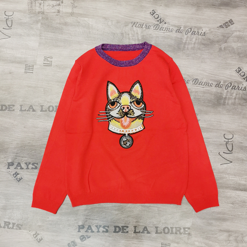 Aw18 dog red cartoon dog embroidery beads inlaid with diamond round neck long sleeve Pullover Sweater womens T-shirt