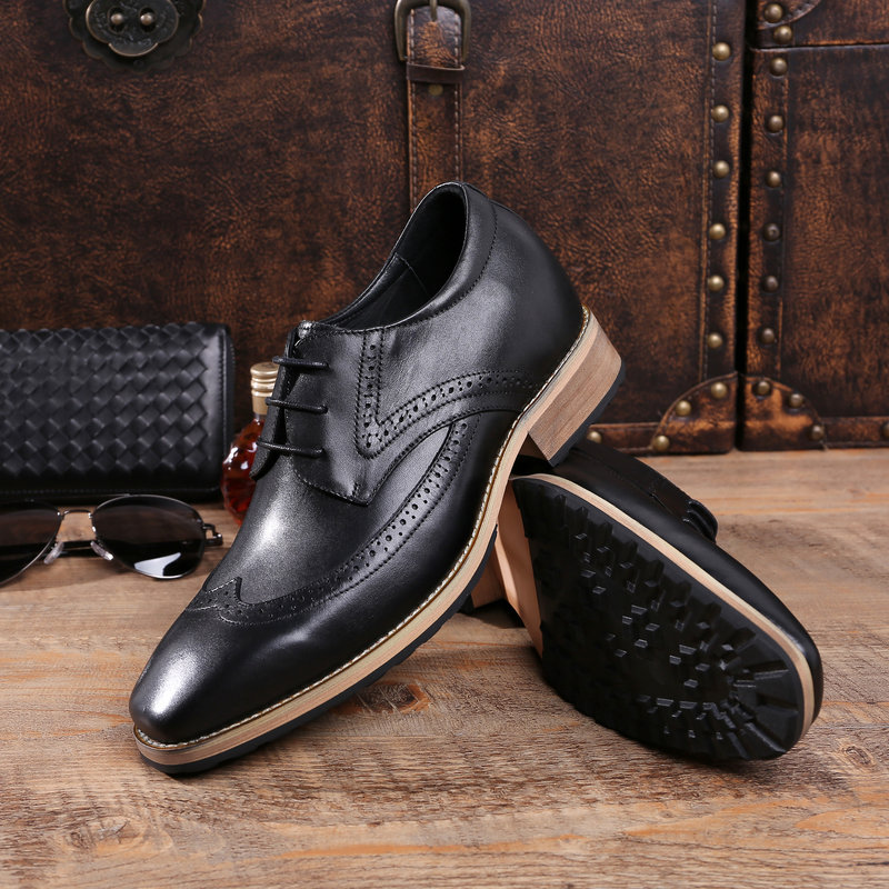 Tiantian new thick sole European mens shoes Square Head mens leather 8C retro business dress carved shoes high heel