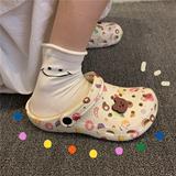 细细条 洞洞鞋女ins潮防滑厚底可爱少女心花园学生包头凉鞋沙滩鞋