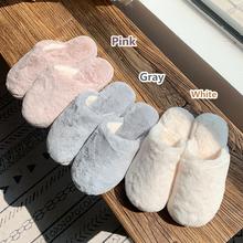 冬季室内纯色棉拖鞋女居家用防滑软底保暖毛毛绒鞋月子鞋细细条
