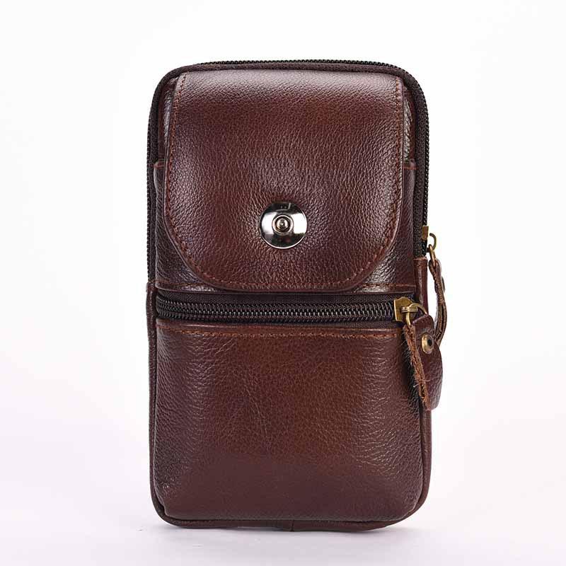 真牛皮穿皮带手机腰包5.0/5.5/6.3/6.0寸手机包多功能零钱手机套