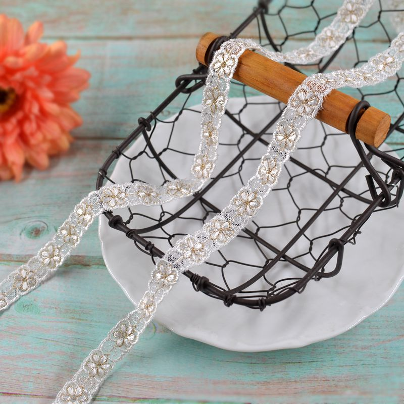 High quality gold thread embroidery mesh lace accessories clothing Lolita baby clothes accessories hair accessories DIY