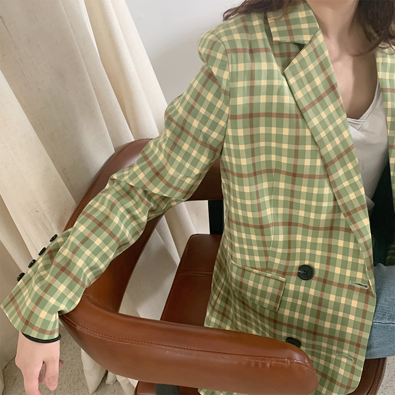 Small suit women spring dress 2020 new Plaid suit coat Korean version slim British casual