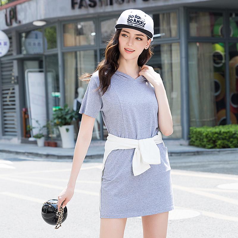 诗燕2017夏季新款女装短袖连帽大码纯色显瘦卫衣连衣裙子71307