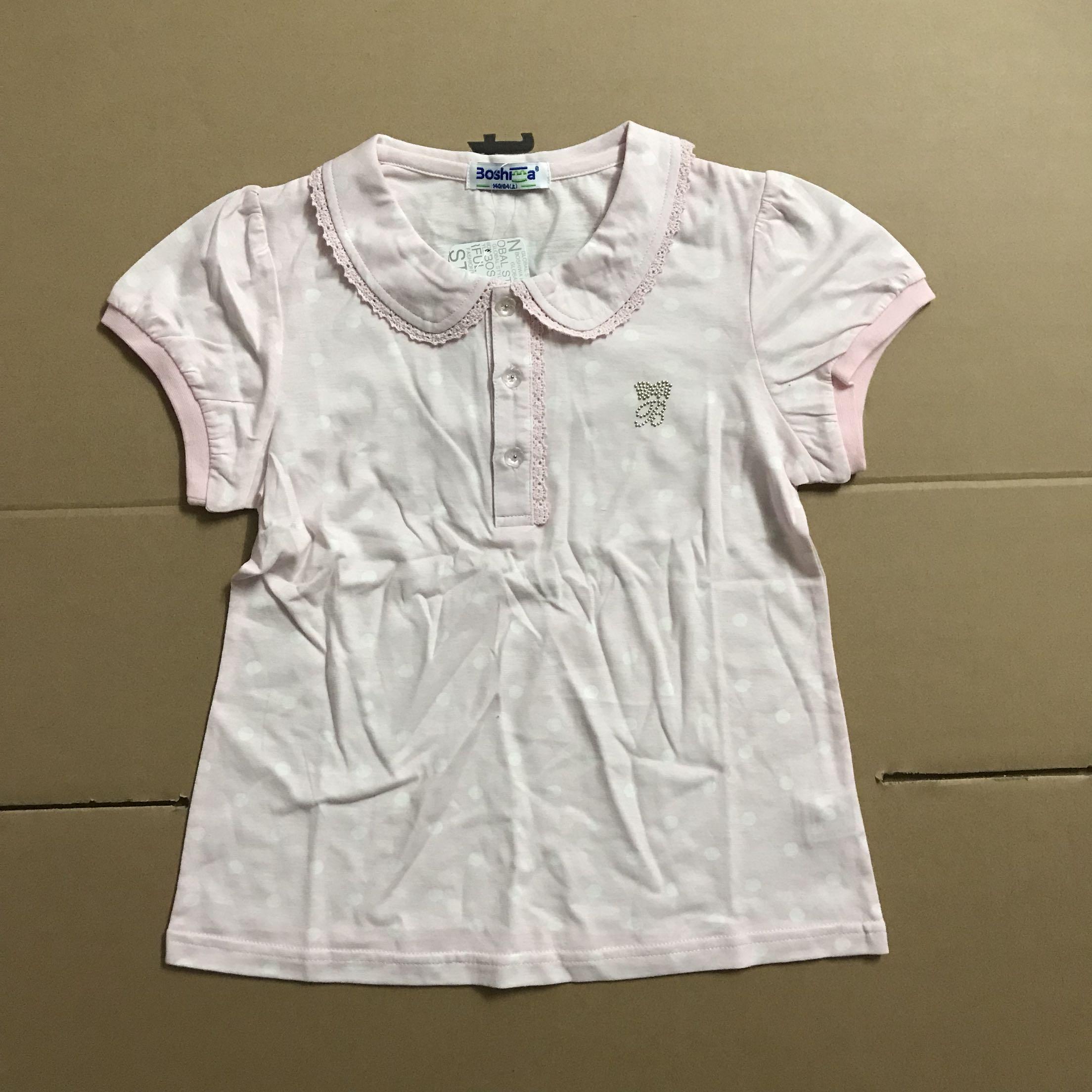博士蛙女童夏装娃娃领纯棉短袖T恤 BTB682027不退不换