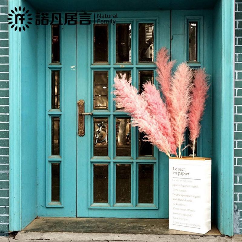 干花花束大芦苇客厅酒店仿真花假花落地插花创意摆设ins装饰粉色正品保证